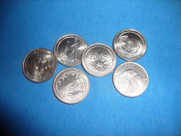 Монеты США квотеры - 25 центовые монеты 6 шт одним лотом UNC !