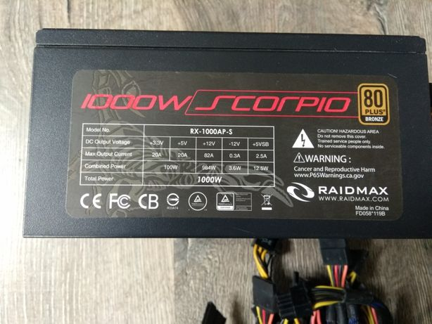 Блок питания 1000W Raidmax Scorpio RX-1000-AP-S