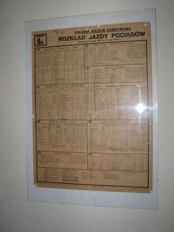 Rozkład jazdy PKP 1974/75 plakatowy/stacyjny Hit.