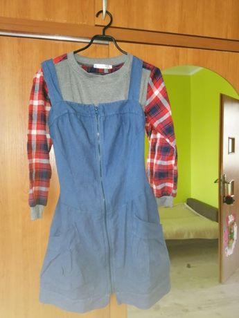 komplet sukienka dżinsowa plus bluzeczka