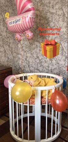 Детская овальная кроватка-трансформер Ovalbed Lux White 8 в 1