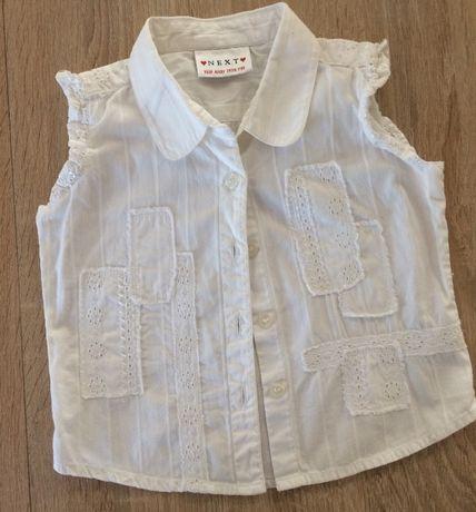 Bluzeczka koszulowa Next bez rękawków r.86