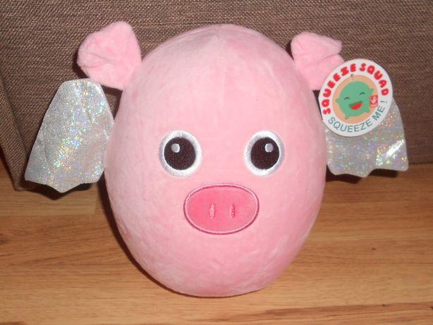 Мягкая, плюшевая игрушка сквиш Squeese розовая свинка 22см.