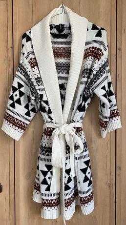 Długi sweter kardigan kimono skandynawski H&M divided xs 34