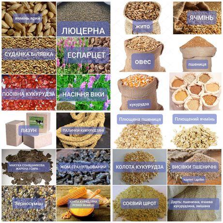 Пшениця, ячмінь, кукурудза, овес, соя, жито, просо, суданка, люцерна