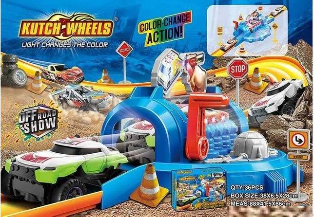 Автотрек игра игрушечная машинка (меняет цвет от LED-подсветки)