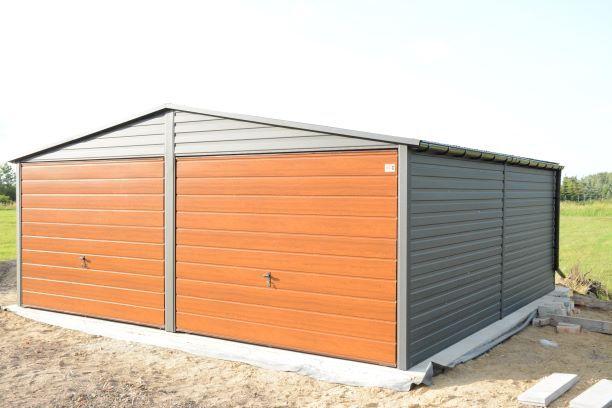 Garaż blaszany GRAFIT(ZŁOTY DĄB) panel poziomy.Profil zamkniety