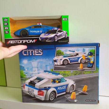 Новый набор 2шт полицейская машина Лего кинсмарт полиция машинка тачка