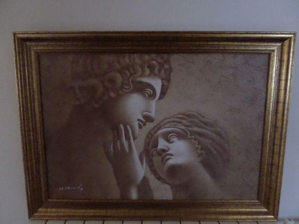 śliczny duży obraz w drewnianej ramie stan idealny