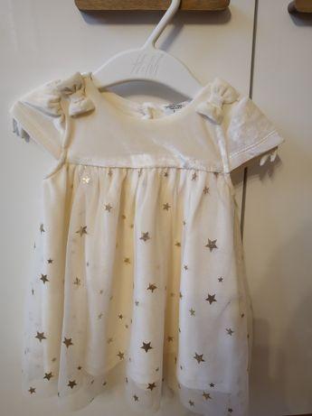 Sukienka aksamitna w kolorze ecru z tiulem i złotymi gwiazdkami, cudna