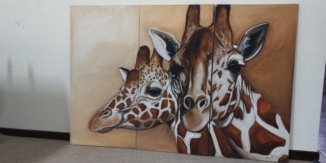 """Tripico a óleo """"Girafas"""" de Nuno Pedreiro"""