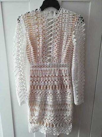 Sukienka biała ażurowa ażur Shein vintage XS nowa