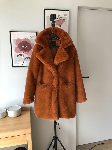 ceglaste rude futro futerko kożuszek płaszcz zimowy Amisu 36 S