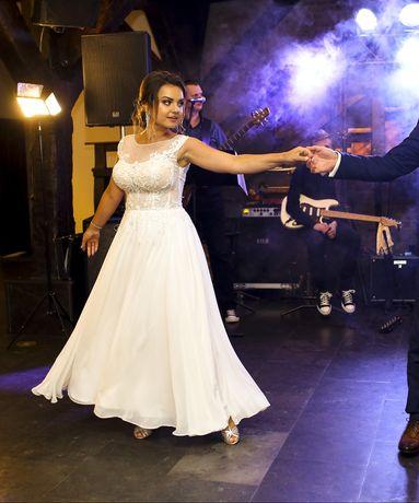 Suknia ślubna śmietanka muślin