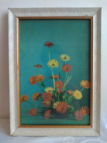 Obraz gerbery kwiaty reprodukcja plakat stara biała drewniana rama PRL