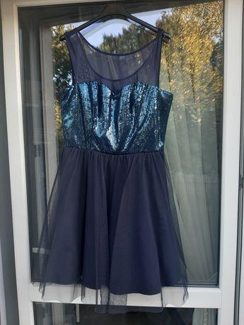 Nowa imprezowa sukienka tiulowa dekolt w serduszko cekiny xl
