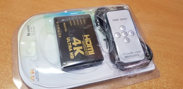HDMI 4K свитч с пультом переключатель с 5 вх. на 1 для ТВ switch свич