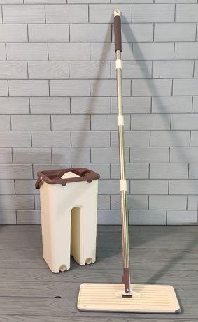 Швабра лентяйка с ведром и отжимом (2 смен. насадки) Flat Mop