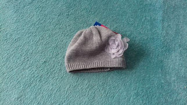 czapka Nowa kwiat srebrna nitka r. 52