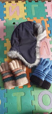 Шапка зима, рукавички