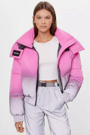 Bershka куртка женская светоотражающая, розовый/серый, L