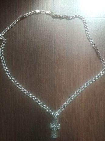 Серебряная мужская цепь Бисмарк. с крестом Серебро 925 проба.