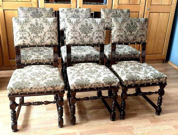6 krzeseł dębowych 100 letnie tapicerowane beżowe stare antyk