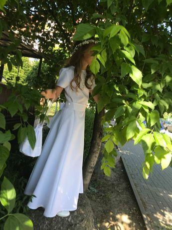 Alba sukienkowa, sukienka, I Komunia Święta wianek torebka bolerko