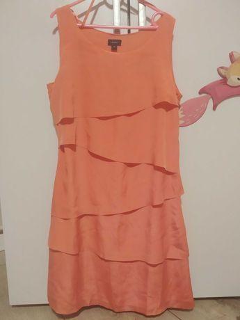 Sukienka łososiowa LINDEX S/M 36/38 komunia chrzciny wesele