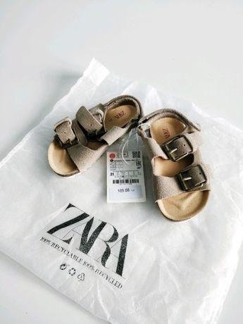 Beżowe skórzane sandały ZARA
