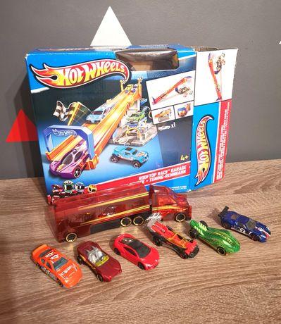 Zestaw Hot Wheels Rooftop Race Garage + ciężarówka i 6 autek