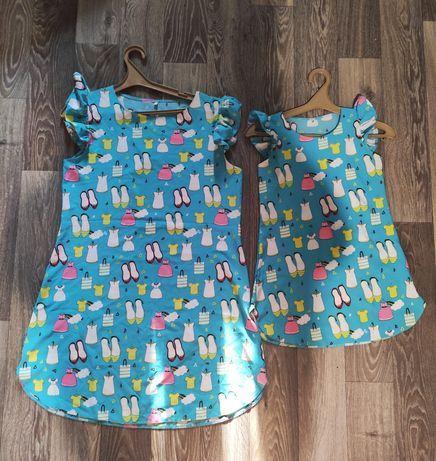 Одинаковые платья family look, фемели лук размер ж. Л, дет.122-128