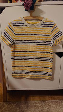 George 98-104 t-shirt w paski granatowo żółte szara