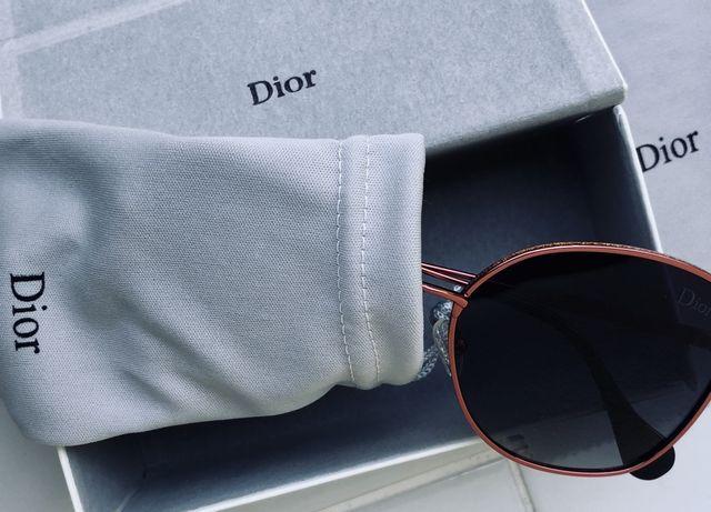 PROMO okulary DIOR czerwone/rozowe z kryształkami z polaryz