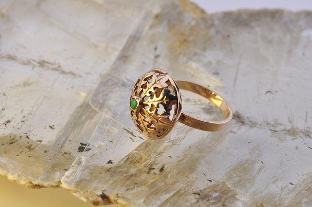 Złoty pierścionek Warmet - kopułka liście dębu r.12 / 16,6mm