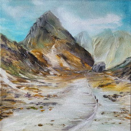 Obraz olejny. Ręcznie malowany. Góry Rysy