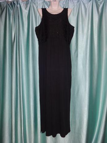 Красивое чёрное длинное платье в пол для беременных сарафан 52 54