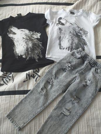 Zestaw Maschmnie  2 tischerty i jeansy 104/110