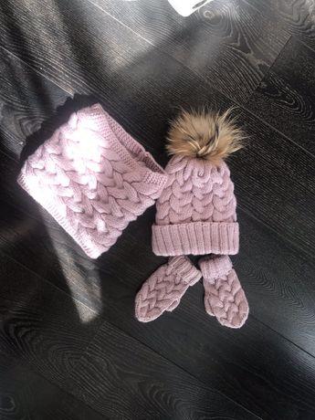 Зимний набор комплект шапка,рукавички,шарф