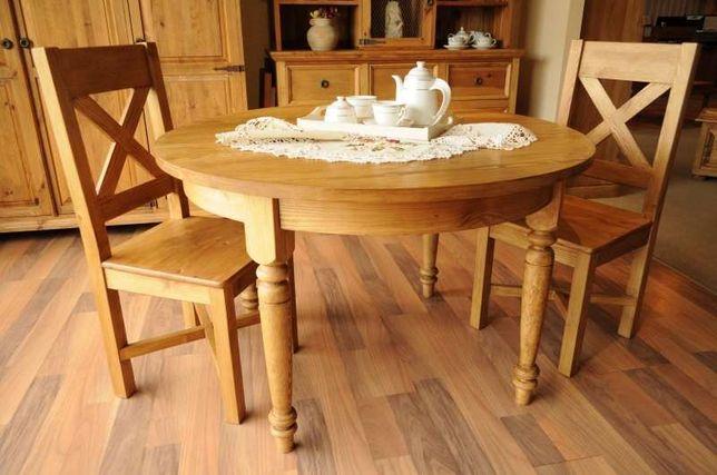 Stół okrągły 120 rozkładany drewniany w wykończeniu naturalny