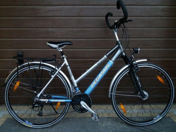 Zadbany Rower PEGASUS damski kola 28 stożek Prądnica Shimano Deore