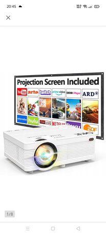 Projektor + ekran na stelażu 120 cali nówka kino w domu