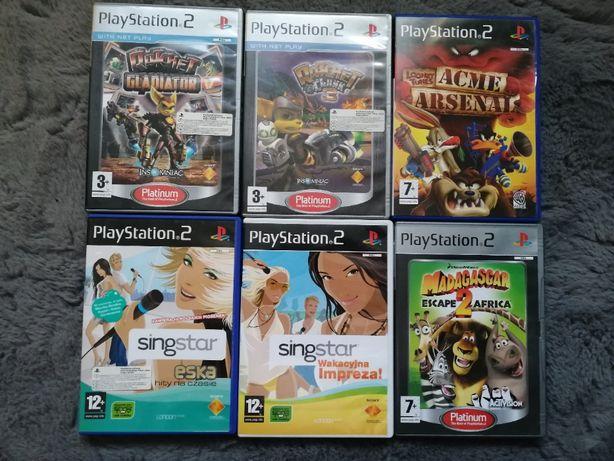 Kolejka 6 gier Play Station 2 ( Ratchet, Madagascar, Singstar, Looney)