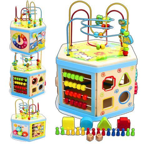 Zabawka interaktywna 8 w 1 kostka edukacyjna drewno nowa gry zabawy