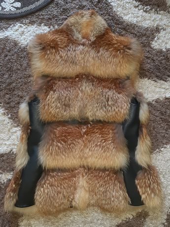 Жилетка натуральная лиса,безрукавка,жилет XS-S