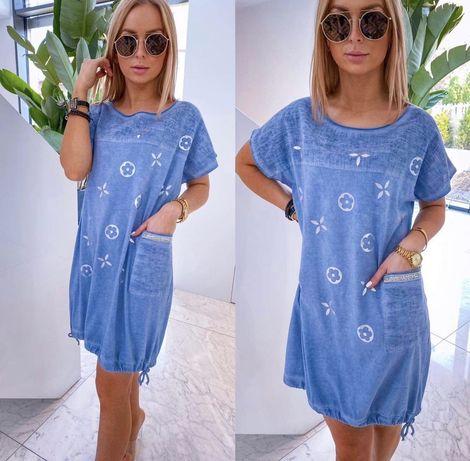 Sukienka tunika kolor jeans niebieska motyw LV