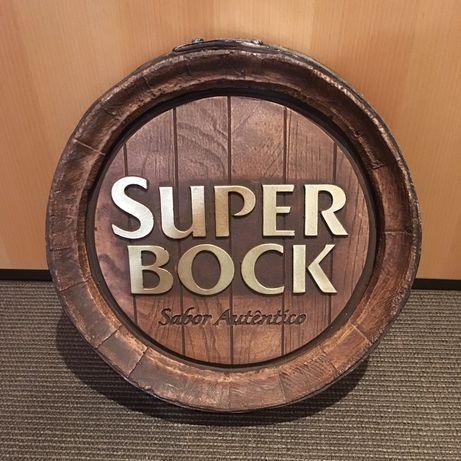 Painel publicitário Super Bock c/ 41cm diâmetro vintage