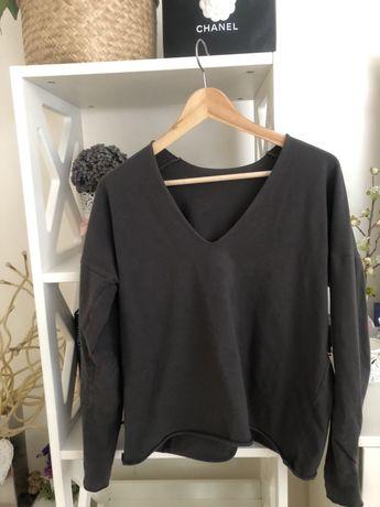 The odder side bluzka v neck bluza czarna stalowa longsleeve