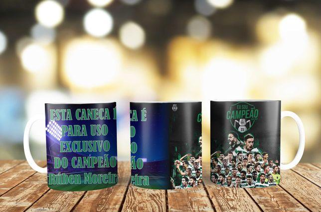 Caneca Sporting Campeão com texto e nome personalizada