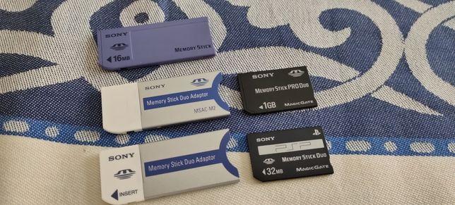Cartões de Memória Memory stick e Memory stick Pro Duo.